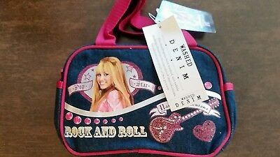 NWT HANNAH MONTANA ROCK AND ROLL GUITAR DENIM BLUE SILVER PINK SATCHEL PURSE  Hannah Montana Purse Handbag