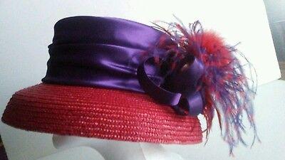 Women's Red Purple Feathery Church Hi Fashion Kentucky Derby Straw/Fabric Hat