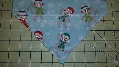 DOG BANDANA Sz XS-L Over Collar SOCK MONKEY CHRISTMAS Blue Snowflakes OOP