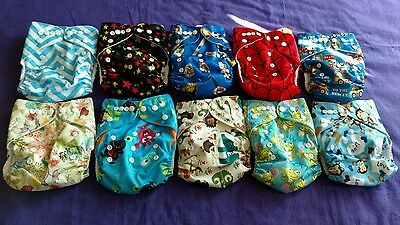 Lot of 10 New Boys Tagless ALVA Cloth Pocket Diapers With Double Gussets