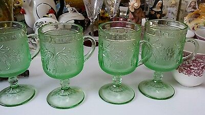 Set Of 4   Chantilly Green Sandwich Pattern Goblets/Water Glass - Tiara
