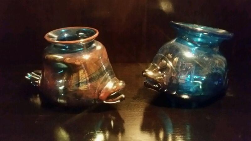 Antique Pair of Hand Blown Fabulous Blue & Iridescent  Glass Fish Fabulous