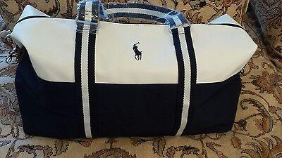Ralph Lauren Polo Large Duffle Bag/gym Bag/weekender/travel Blue & White NEW!