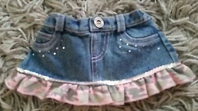 Build A Bear Outfit BABW~ Denim Skirt ~ Bling & Sequins & Pink Camoflauge Ruffle for sale  Forsyth