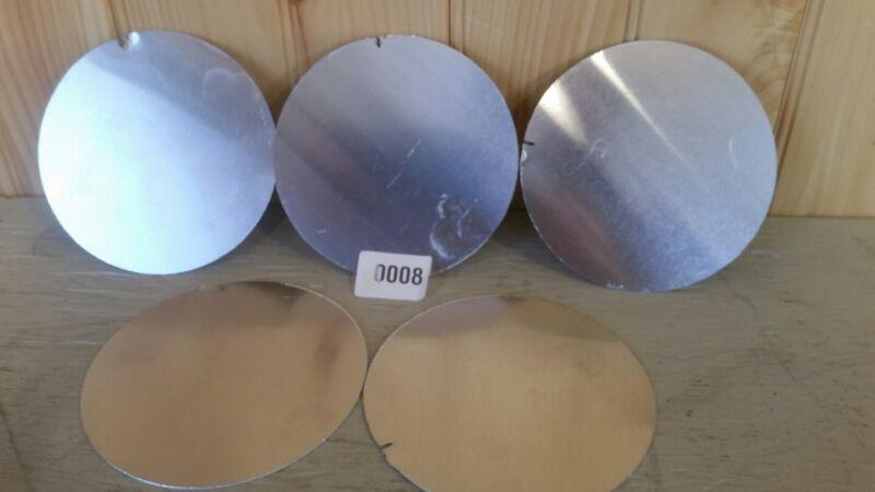 """aluminum five (5) piece 5""""+- disk, Plate flat metal circles 040"""