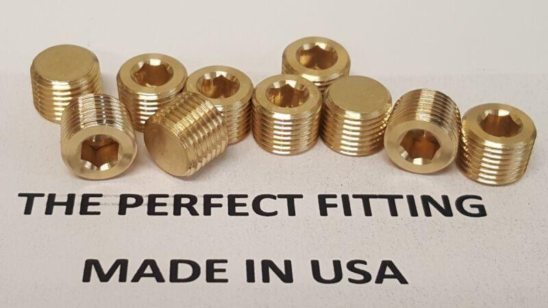 Lot of 10 pcs. 1/8 MIP, Male NPT, MNPT Brass Plug Allen Key Countersunk Hex USA