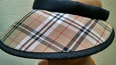 Sporty Women's Adjustable Soft Visor Large Brim Cotton Fabric NEW Plaid
