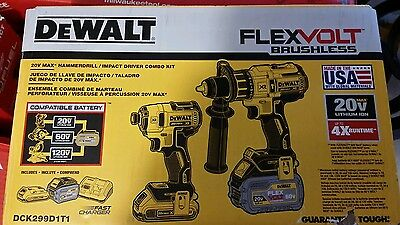 NEW Dewalt Dck299d1t1 FLEXVOLT Lithium Ion Cordless Brushless Combo Tool Kit