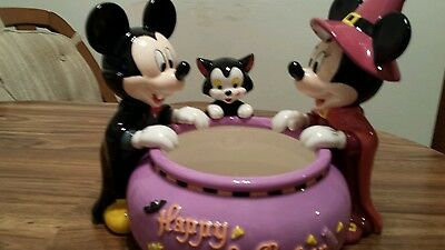 DISNEY HALLOWEEN MICKEY MOUSE, MINNIE, FIGARO FIGURE LARGE CANDY BOWL NEW