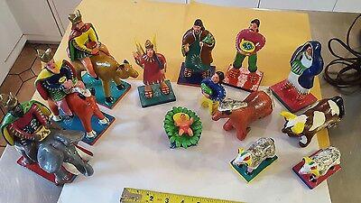 Large vintage nativity creche set folk art pottery Mexican ORTEGA  13 pieces