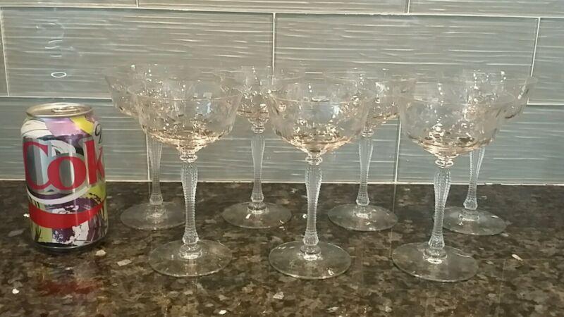 ANTIQUE ETCHED FLOWER CUT CRYSTAL (7) CHAMPAGNE GLASSES 3 OZ CORNCOB STEM