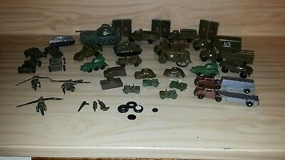 Lot Antique Vintage Pyro Lido Plastic Wooden Army War Toys Tanks Trucks Planes