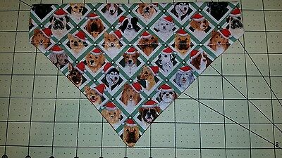 DOG BANDANA Sz XS-L Over Collar DOGS IN SANTA HATS CHRISTMAS Pups Holiday