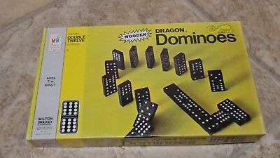 Vintage MB Dragon Double Twelve Wooden Dominoes 1970 Game Crafts Jewelry Making