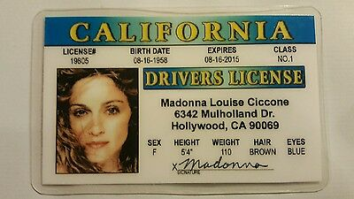 Madonna Picture ID card drivers license souvenir collectible