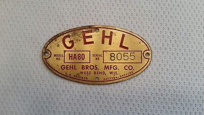 Gehl Bros Mfg Farm Equipment Brass Tag West Bend Wis. Usa