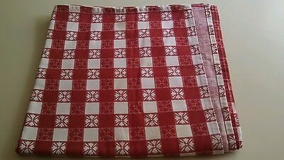 3 RED CHECK COUNTRY PLAID SQUARE GINGHAM TABLECLOTHS 54 X 54 (LOT OF 3)