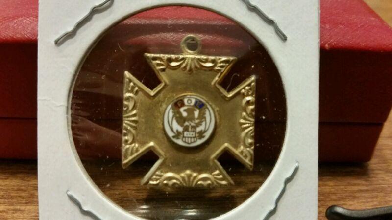 Antique Vintage Silver Fraternal Order of Eagles Cross Pendant FOE Enamel