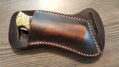 Cross Draw Buffalo leather knife sheath  Dark oil rustic. fits a Buck 110 or -