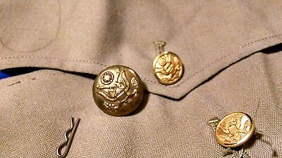 Lot 3 VTG gold tone military eagle buttons 1940s WWII era Waterbury Army