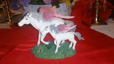 Set of White Pegasus Horses Statue with Rose Pink Feather Wings