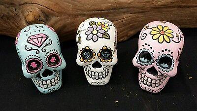 """3 Small 2 """"  Colorful Sugar Skull Resin Dia De Los Muertos ~Day of the Dead"""