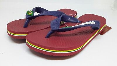 Havaianas Kinder Zehentrenner Brasilien Logo Rot Zehenstegsandalen UK 7-8 EU23