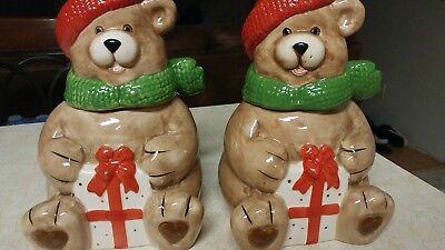 Cookie Jar Teddy Bear Christmas Set of 2 Heartfelt Kitchen Creations No Reserve