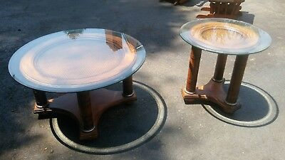 Leather Round Coffee Table - Ashley Serengeti Kuli Wood & Leather ROUND GLASS TOP COFFEE AND END TABLE