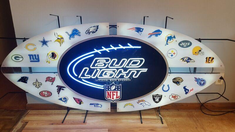 Bud light beer 6ft neon light  up sign NFL football teams packers bears 49ers kc