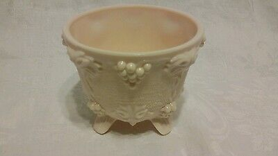 vintage pink milk grapes & leaves four feet candy bowl