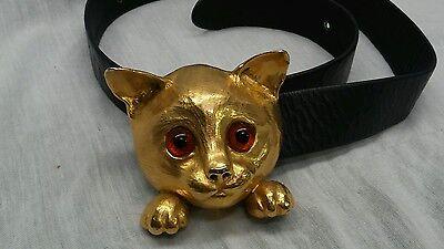 Rare vintage Christopher Ross 1976 cat gold plate belt  buckle black leather