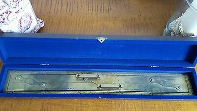 KELVIN & HUGHES English Brass ship Parallel Ruler with original case c1900