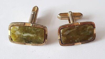 Vintage Style Rectangular Green Stone Cufflinks Gold Colour