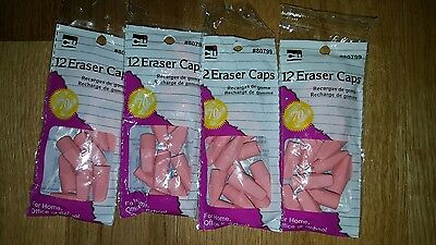 Lot of 4 CLI Pencil Eraser Cap 12 pks. (48 total) (Cap Erasers)