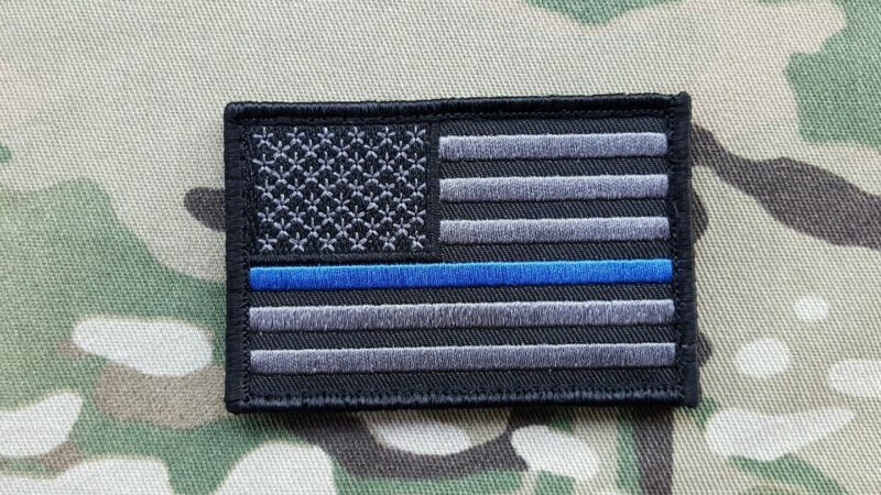 US Flag Thin Blue Line Morale Patch Black Police Swat Sheriff 1*