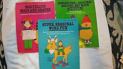 Lot of 3 Grade 1-3 Teacher Aid Worksheets ()
