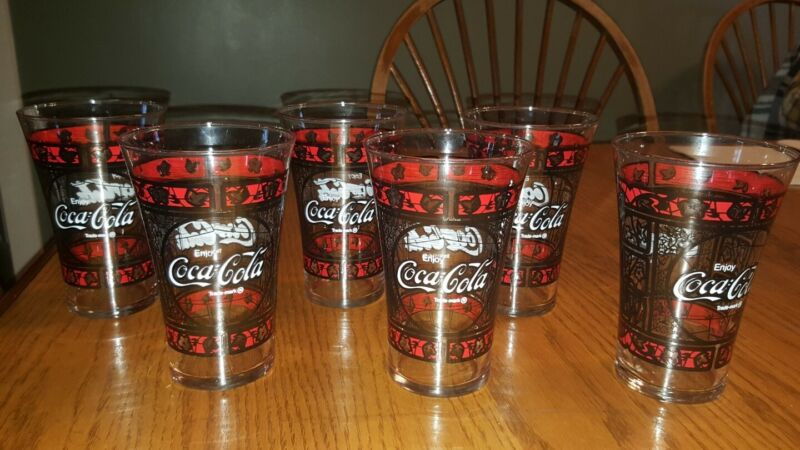 6 Vintage COCA-COLA Flared Drinking Glasses - Stained Glass - Coke Tumblers