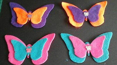 4 Handmade die cut double layered  felt butterflies, card toppers, birthdays.