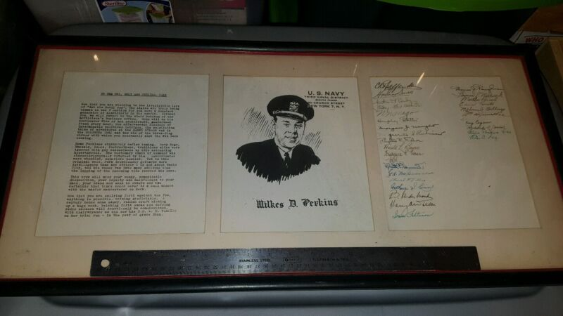 FRAME OF US NAVY THIRD NAVAL DISTRICT NEW YORK WILKES D. PERKINS 30 SIGNATURES