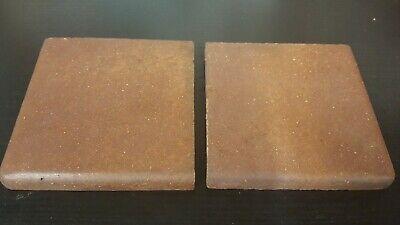 Reclaimed pair of heather brown Dennis Ruabon of Wales corner quarry floor tiles