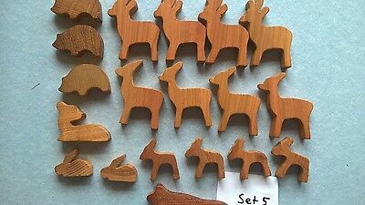 Holztiere Set 5 ( Waldtier Set ), 19 Teile