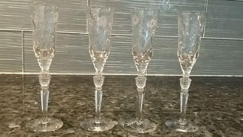 SET (4) VINTAGE ETCHED FLOWER CUT CRYSTAL SHOT / CORDIAL GLASSES