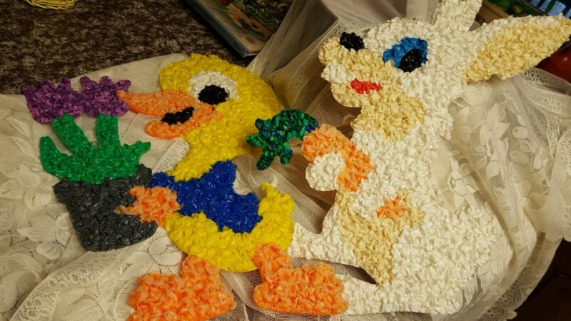 easter bunny and duck melted Plastic popcorn