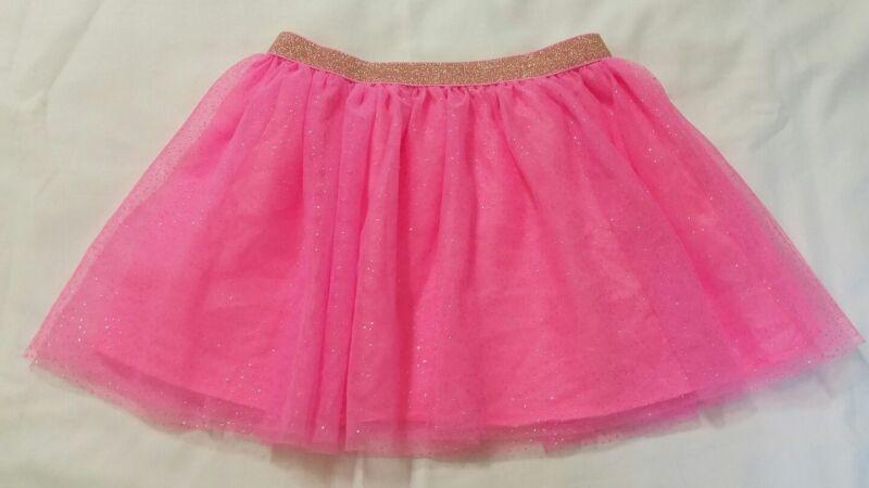 Young Girls Pink Sparkling Tutu Gold Elastic Waist Mesh Netting Overlay Skirt