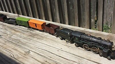 American Flyer Tender and Engine with Early Lionel Freight cars Standard Gauge