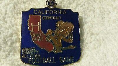 Lions Club Pin California All Star Charity Football game Vintage Rare