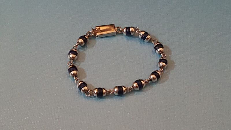 Mexican Sterling Silver Blue Round Bead Bracelet signed
