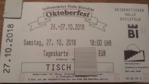 8 Karten für das Oktoberfest am Sa 27.10.18 in der Bielefelder Seidenstickerhall