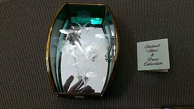 Vintage green tinted glass/brass jewelry box with etched flower.